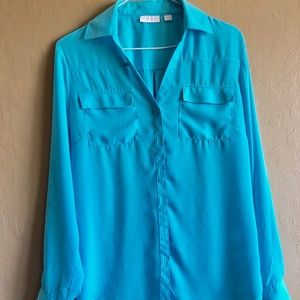 Blue Button Down Sheer Blouse